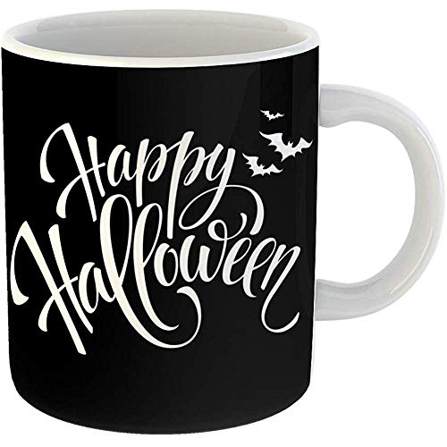 Coffee Tea Mug Gift 11 Oz Funny Ceramic Gray Text Happy Halloween Message Party Pumpkin Gifts For Family Friends Coworkers Boss Mug -