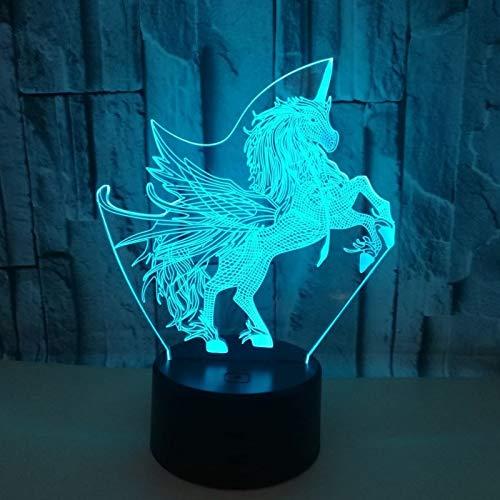 3D Ilusión óptica Lámpara LED Luz Unicornio de noche Deco ...