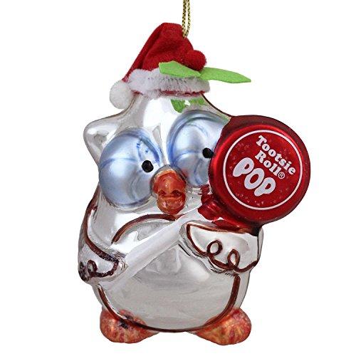 Northlight Roll Pop Original Candy-Filled Lollipop Mr. Owl Glass Christmas Ornament, 4