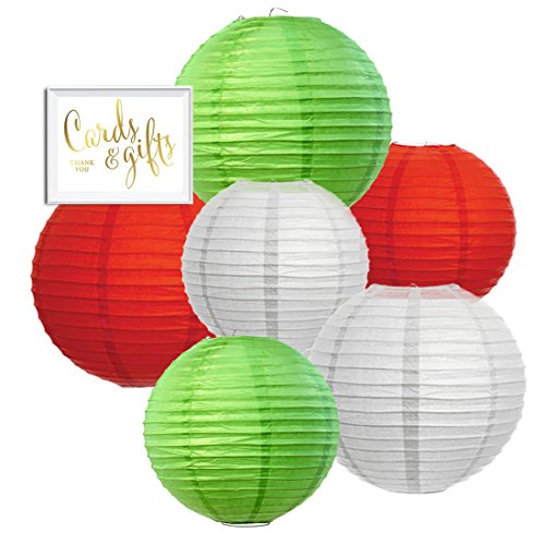 Christmas Paper Lanterns - Andaz Press Hanging Paper Lantern Party Decor Trio Kit with Free Party Sign, Kiwi Green, Red, White, 6-Pack, For Office Classroom Christmas Decorations