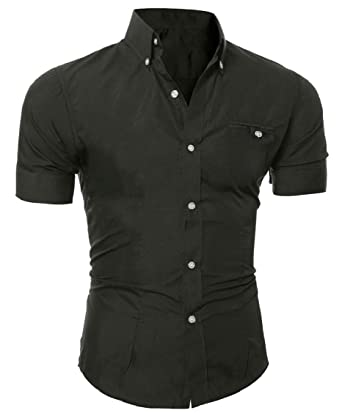 Hajotrawa Boys Simple Solid Button Down Short Sleeve Shirt