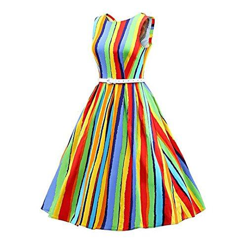 Novia's Women Boatneck Dress Choice Classy 1950s Colorful Dress Party Stripe Cocktail Swing Vintage qrY5rxwB