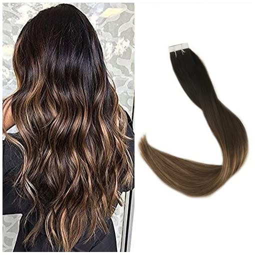 Full Shine 18 Inch Balayage Highlighted PU Tape in Hair Extensions 40Pcs  100 Gram Adhensive Seamless Tape In Extensions Remy Human Hair Color 3  Fading