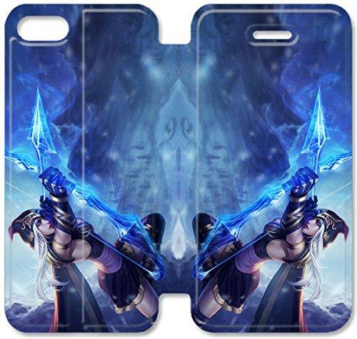 Flip étui en cuir PU Stand pour Coque iPhone 5 5S, bricolage 5 5S étui de téléphone cellulaire League of Legends Ashe V8T5MU Coque Case bricolage dur