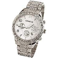 Mens Watches - Geneva Luxury Crystal Quartz Watches for Men Women Full CZ Stone Beaded Relojes by Sameno Watch Delux