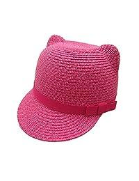 Straw Flat Caps Parent-Child Hats Girls Babies Children Cat Ear Summer Sun Hat