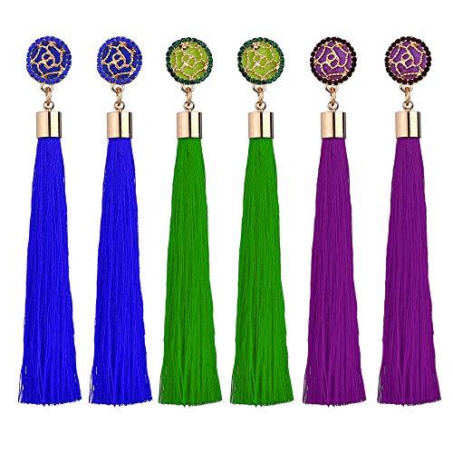 Tassel Dangle Earrings Drop Threader Hoop Chandelier Ear Cuff Fringe Linear Stud Earrings Women Girls Fashion Boho Piercing Wedding Bridal Tribal Dangling Charms Jewelry Purple Blue Green