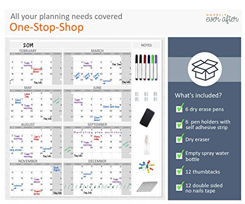 HEA Large Dry Erase Wall Calendar 2019 58'' x 48''   Premium New Laminate   Blank Undated, Reusable & Erasable 12 Month Annual Planner   Classroom, Fiscal Year, Office, Project & Family Schedule by Happily Ever After (Image #2)