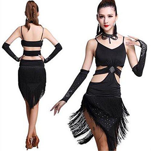 M Latin Clothing Black Troupe Show Dress Practice Stage Dance Ladies pd0zxwqp