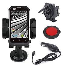 DURAGADGET Vehicle Phone Holder Cradle And Car Charger Kit For Caterpillar CAT B10, B15, B15Q & B25 Smartphone (Includes BONUS Car Charger!)