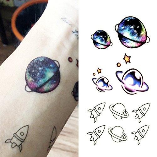 Oottati Pequeño Lindo Tatuaje Temporal Cohete Planeta Mercurio (2 Hojas)