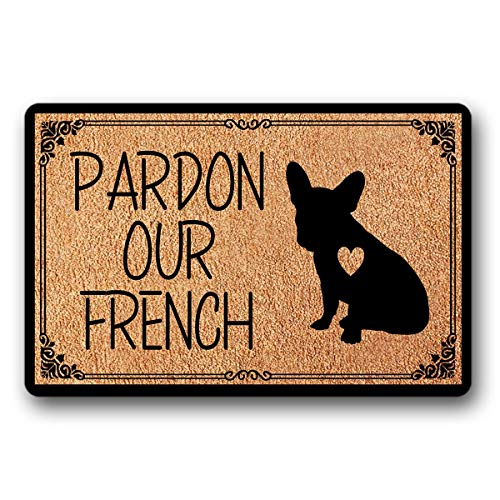 "Bernie Gresham Entrance Floor Mat Funny Doormat Pardon Our French Bulldog Door mat Decorative Indoor Outdoor Doormat Non-Woven Fabric Top 30""x18"""