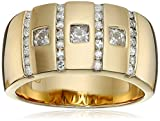 Men's 18k Yellow Gold Plated Sterling Silver VG Moissanite Wedding Band, Size 10