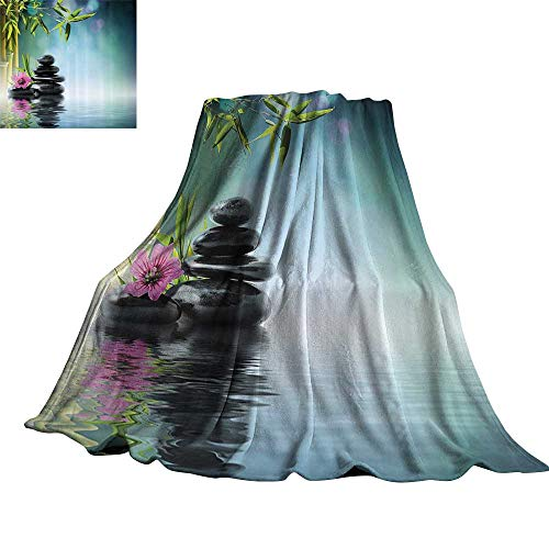 WinfreyDecor Spa Decor Super Soft BlanketsTower Stone and Hibiscus with Bamboo On The Water Blurred Background 36