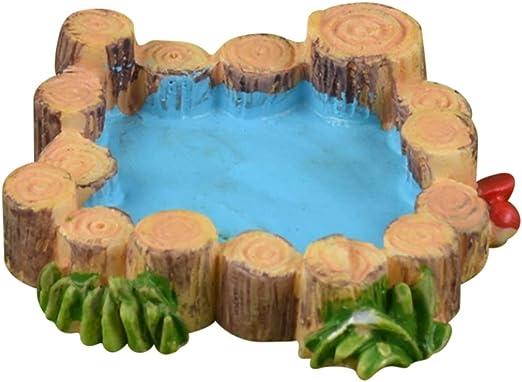 EFINNY Accesorios de jardín de Hadas Simulación de Resina Pozo de Agua Piscina Decoración de jardín Micro Paisaje Piscina de Pila de Madera: Amazon.es: Jardín