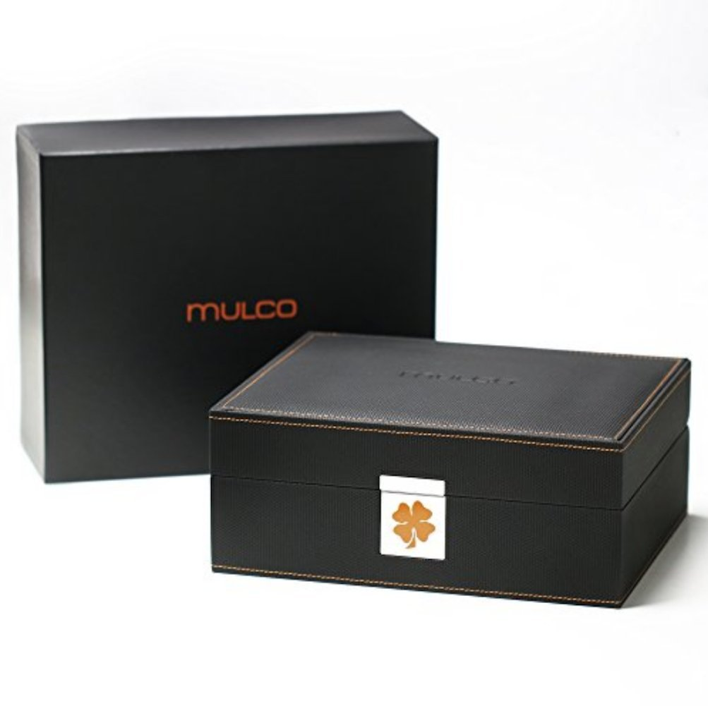 Mulco Brand New Watch Display Box Collector Luxury Organizer/Outer Black Leather with Inside Beige Suede and Black Leather/Briefcase to Display 8 Watches MW10-40700