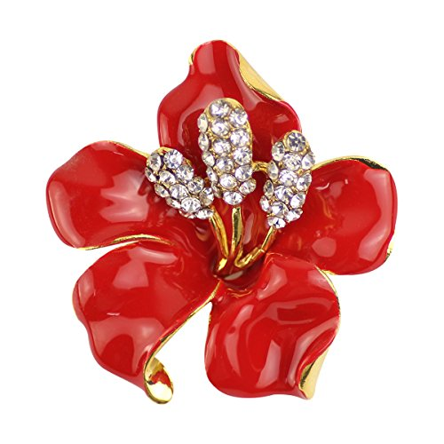 - Merdia Brooch Pin for Women Flowers Brooch with Created Crystal Red 29.8g