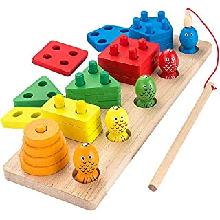 AppyHut Montessori Shape Sorter Stacker Wooden Educational Preschool Toys Wooden Stacking Toys Geometric Shapes Toy Peg Puzzles Board Blocks Baby Color Stack and Sorting Toys for Toddlers Fishing Game