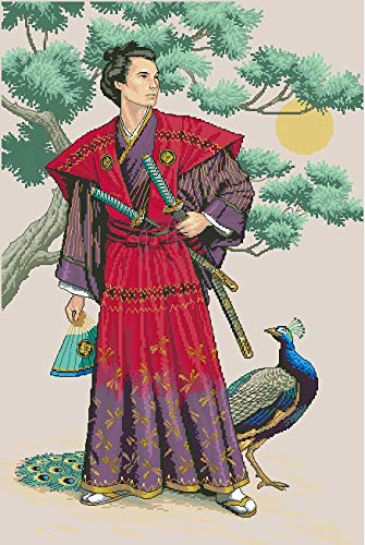 - Zamtac Top Quality Lovely Counted Cross Stitch Kit The Mighty Samurai Asian Japanese Man and Peacock Bird dim 03881 - (Cross Stitch Fabric CT Number: 18CT unprint Canvas)