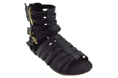 ef139ef1fe873 Sophie 816 Little Girls Strappy Gladiator Comfort Flat Sandals Black 3