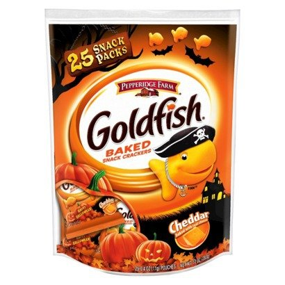 Pepperidge Farm Goldfish, Cheddar Baked Snacks, Pack of 25 0.4oz Pouches (Halloween Kid Snacks)
