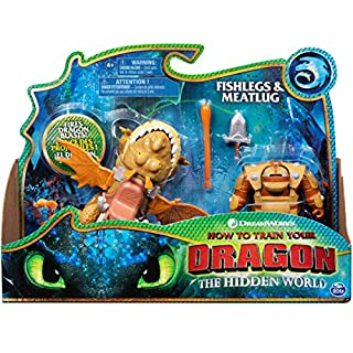 Dreamworks Dragons, Fishlegs and Meatlug, Dragon with Armored Viking Figure, for Kids Aged 4 and Up