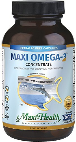 Maxi Health Omega-3 Fatty Acids Concentrate - Fish Oil - 2000mg - 180 + 20 Gel Capsules - Kosher by Maxi ()