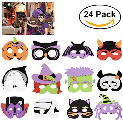 2 Sets of 12 Different Kinds of Patterns DIY Halloween Foam Mask for Kids Children Halloween Costume