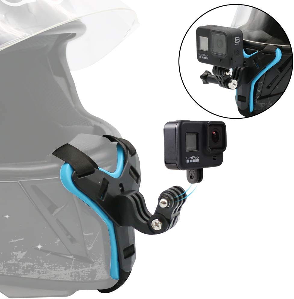 SUREWO Motorcycle Helmet Chin Strap Mount for GoPro Hero 8/7/(2018)/6/5 Black,Session 4,Hero 3,DJI Osmo Action,Insta360 ONE R,AKASO/Campark/YI and More