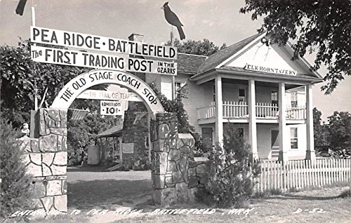 (Entrance to Pea Ridge Battlefield Benton County, Arkansas postcard)
