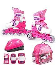 SMJ 2-in-1 inlineskates voor kinderen, verstelbare inlineskates + beschermingsset + helm + tas