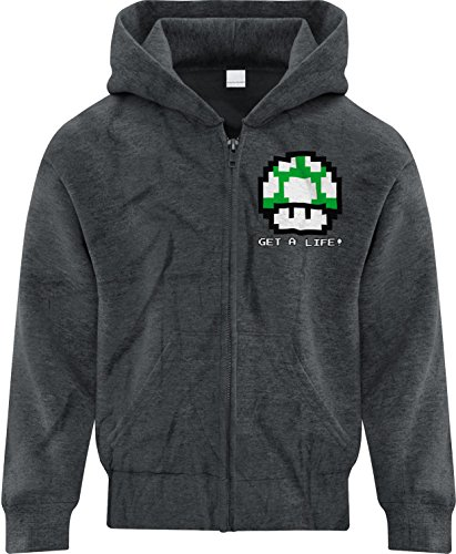 Price comparison product image BSW Girl Get A Life 1UP Mushroom Vintage 8bit Mario Bros Zip Hoodie Med Drk Hthr