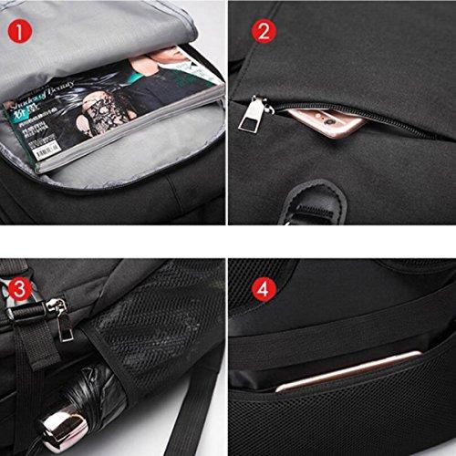 Aire Libre Multifuncional USB Black Seguridad Para Carga Mochila De De Al Viajes vZxnwwzqg