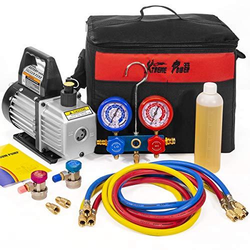 XtremepowerUS 3CFM 1/4HP Air Vacuum Pump HVAC R134a R12 R22 R410a A/C Refrigeration Kit AC Manifold Gauge Carrying Tote
