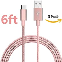 [3 pack 6ft] Asstar USB C Cable, Type C to USB A Sync & Charging Cable/Cord for ZTE Zmax Pro Z981/Oneplus Three / OnePlus 3T/HTC Bolt/Google Pixel/Pixel XL, Nexus 6p/5X,LG G5 - Rose Golden