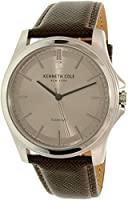 Kenneth Cole New York Men's 'Diamond Rock Out' Quartz Stainless Steel and Leather Dress Watch, Color:Brown (Model: 10027417)