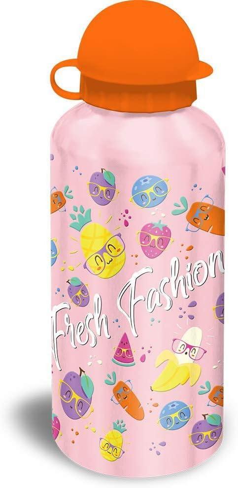 Kids Set Sandwichera Plastico Y Cantimplora Aluminio de Fresh Fashion Bolsa de Tela Y de Playa, 40 cm, Multicolor