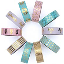 Washi Tape Set of 10 Cute Gold Foil Rolls - Extra Long 33 feet - Decorative Masking Tapes Great for DIY Washi Tape Arts and Crafts Projects; Planners, Scrapbooking, Wall Art, Bullet Journals and More