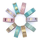 Washi Tape Set of 10 Cute Gold Foil Rolls - Extra Long 33 Feet - Decorative Masking Tapes Great for DIY Washi Tape Arts and Crafts Projects; Planners, Scrapbooking, Wall Art, Bullet Journals