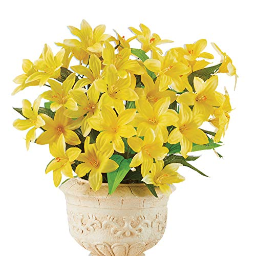 (Faux Daylily Big Bloom Bushes - Set of 3 - Outdoor or Indoor Decorative Accent, Yellow)