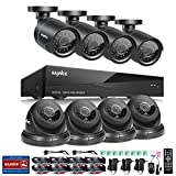 SANNCE 8CH 1080N DVR Recorder Home Security Systems and (8) 1280TVL Outdoor/Indoor Weatherproof Superior Night Vision CCTV Cameras with Remote Access and Motion Detection, NO HDD
