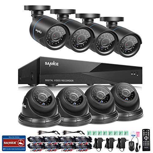 SANNCE 8CH 1080N DVR Recorder Home Security Systems and (8) 1280TVL Outdoor/Indoor Weatherproof Superior Night Vision CCTV Cameras with Remote Access and Motion Detection, NO HDD by SANNCE