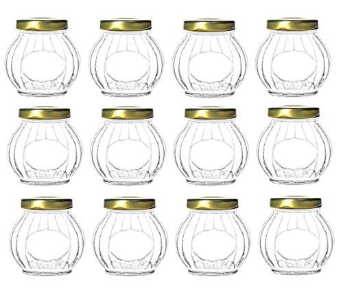 Nakpunar 12 pcs 10 oz Round Glass Jars with Gold Lids for Jam, Jellies, Favors, Spices Butter 10 Oz Jar