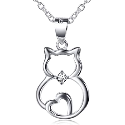 S925 Sterling Silver Cute Cat Lover Gifts Animal Pendant Necklace, 18""