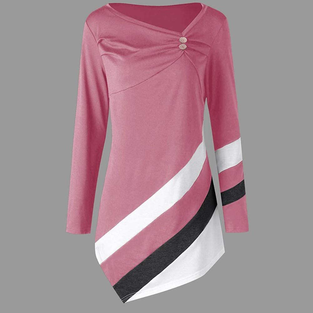 Womens Blouse Charberry Autumn Winter Striped Asymmtrical Tunic Tops Plus Size Blouse T-Shirts