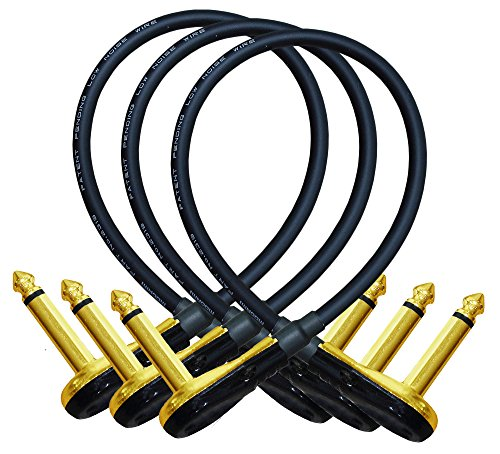 3 Units - Mogami 2319 - 12 Inch - Guitar Bass Effects Instrument, Patch Cable with Premium Gold Plated ¼ Inch (6.35mm) Low-Profile, Right Angled Pancake type TS Connectors