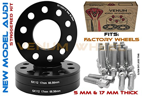 (4) 5x112 Audi Black Hubcentric Wheel Spacers Staggered Set 5 mm & 17 mm + Chrome Ball Seat Extended Lug Bolts 09-2019 A4 A5 A6 A7 A8 All Road S4 S5 S6 S7 RS5 RS7 Q5 SQ5 W/Factory Wheels ()
