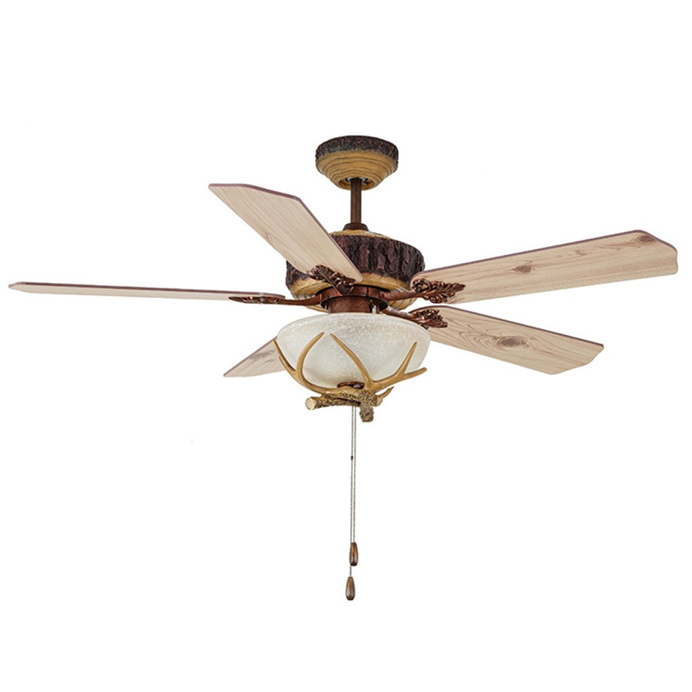 RainierLight Antique and Pastoral Light Fixtures Ceiling Fan for Bedroom/Living Room with 5 Wood Leaves Antler Shape Mute and Save Electricity Remote Control (52-Inch)