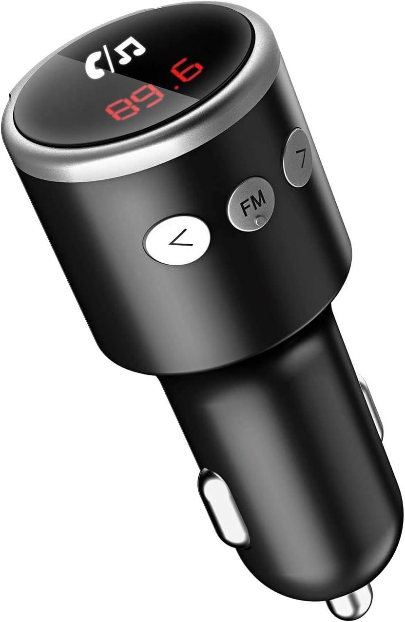 Mini Transmisor FM Bluetooth, Bluetooth Coche Manos Libres, Adaptador de Radio Inalámbrico, QC3.0 Dual Cargador USB, Mp3 Reproductor Música para iOS/Android
