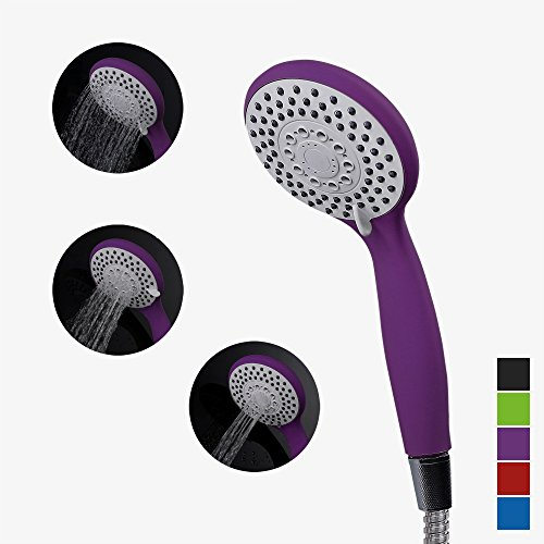Handheld Showerheads Ratings (Handheld Shower Head,Hand shower head Matte Purple Sprayer bath SPA Massagehead Silicone Nozzles 4 Spray Setting Water Saving Rating 2.0GPM -Elegantly Designed Color Purple)